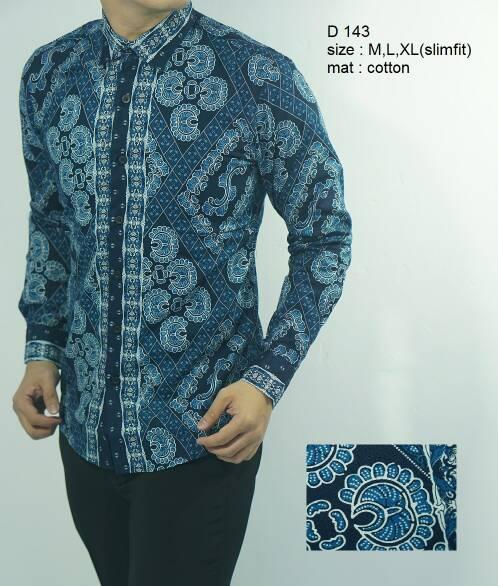 Odza Batik Kemeja Slim Fit D143 - Batik Slimfit Keren D 143
