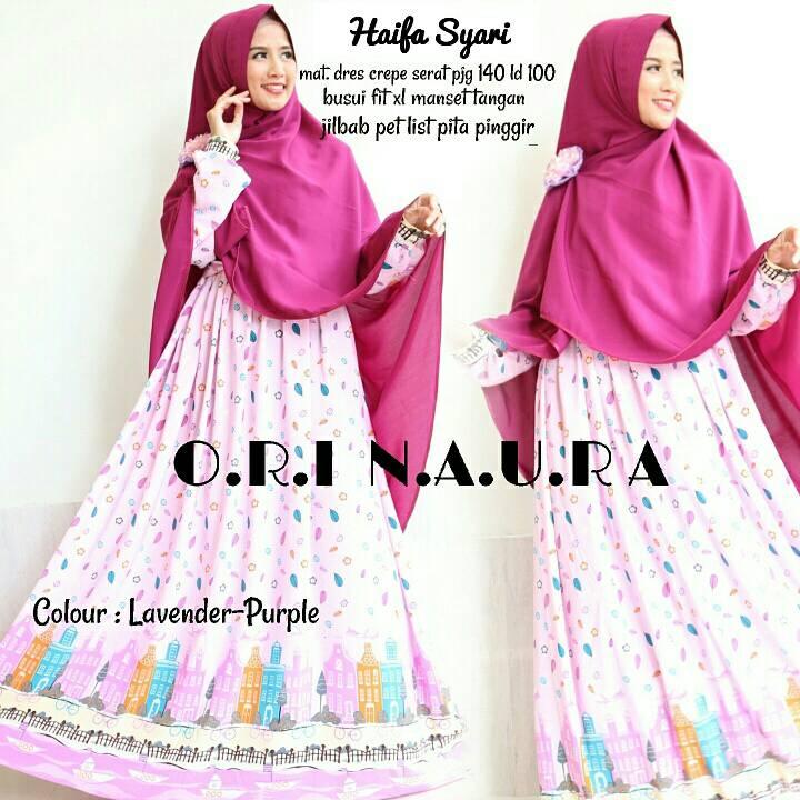 Jual Baju Muslim Gamis Syar 39 I Abaya Haifa Ori Naura