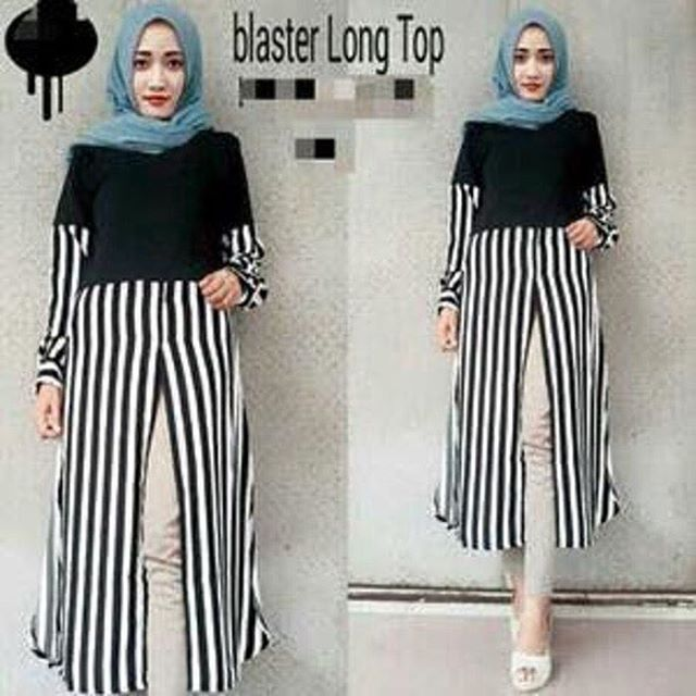 Baju Hijab Murah Blaster Long Top