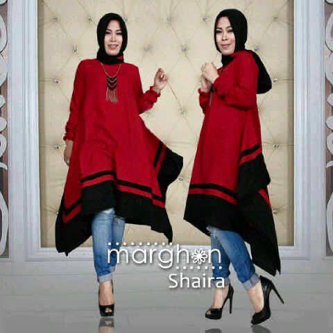 Margan shaira / blouse muslim / baju merah / tunik / hijab update