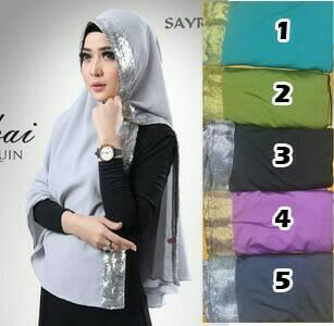 kerudung/kerudunh instan/jibab instan/hijab Khimar Dubai pita gliter
