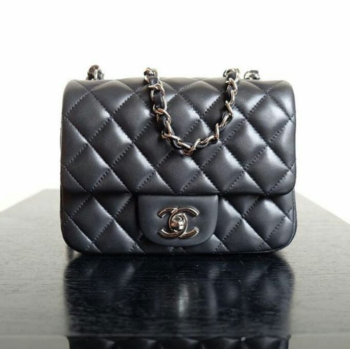 jual tas chanel mini flap 17cm lambskin black mirror quality 15475976b9