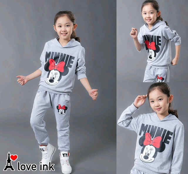 STKD235 - Setelan Anak Hoodie Minnie Mouse Face Misty