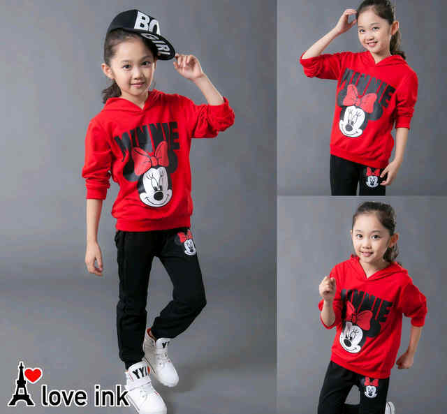 STKD236 - Setelan Anak Hoodie Minnie Mouse Face Red Murah