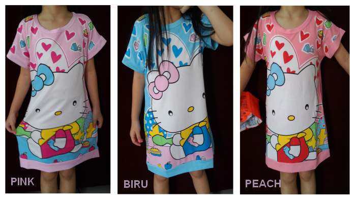 DSKDHK25 - Dress Anak Hello Kitty Eating Murah