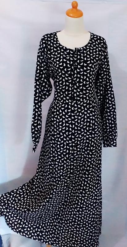 Jual baju gamis elegan bahan katun jepang warna hitam Agen baju gamis katun jepang