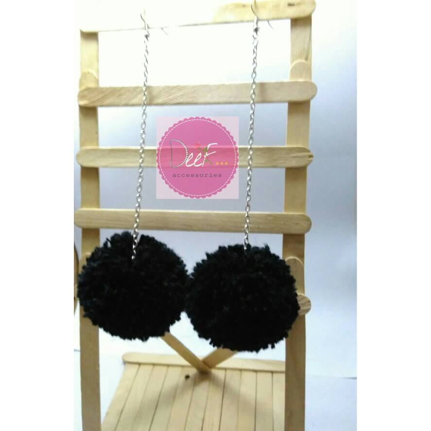 Anting Pom Pom | Pom Pom Earrings | Anting Hijab Hitam