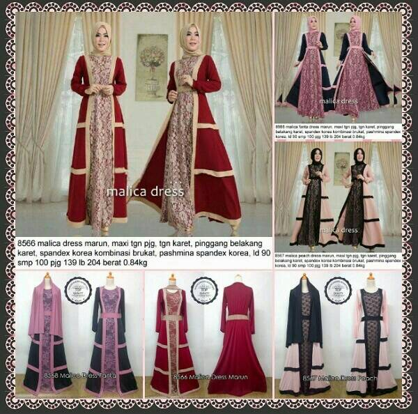 malica dress/gamis murah/baju long dress/set hijab/jilbab
