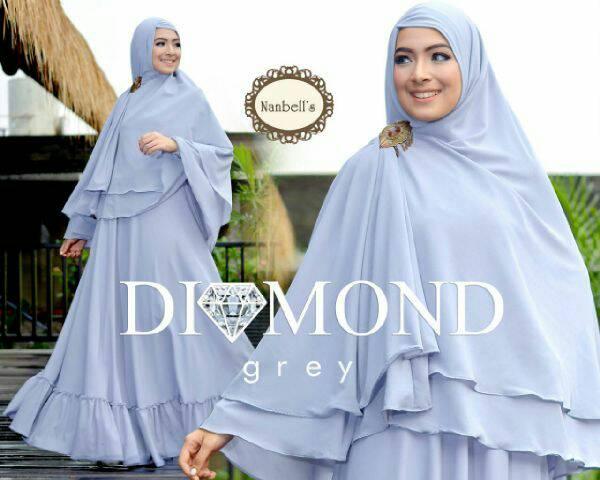 Diamond syari Grey/Baju Muslim Wanita Murah/Hijab Syari Baju Gamis