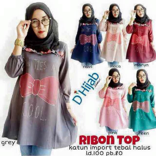 Ribbon Top / baju atasan katun paris / grosir baju hijab