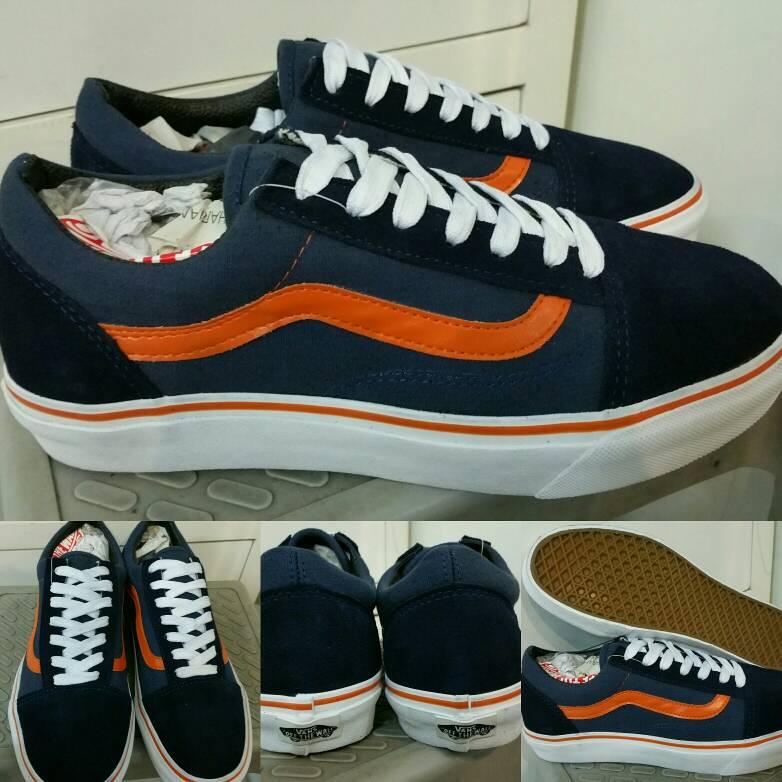 Jual Sepatu Skate Vans Oldskool Old Skool Navy Orange ... 462e2e3a0