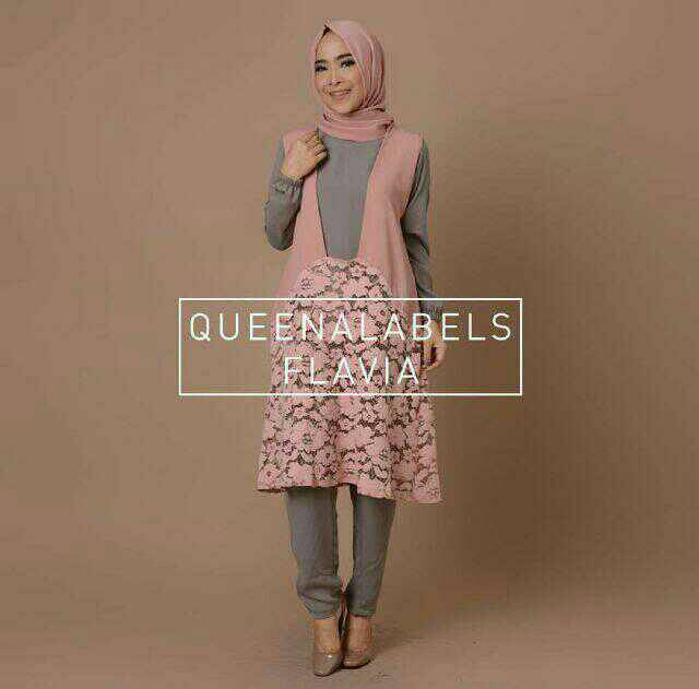 Setelan hijab flavia dusty (BEST SELLER)