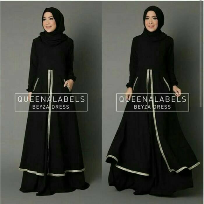 Beyza Hitam / setelan hijab / gamis syari / pashmina / baju lebaran