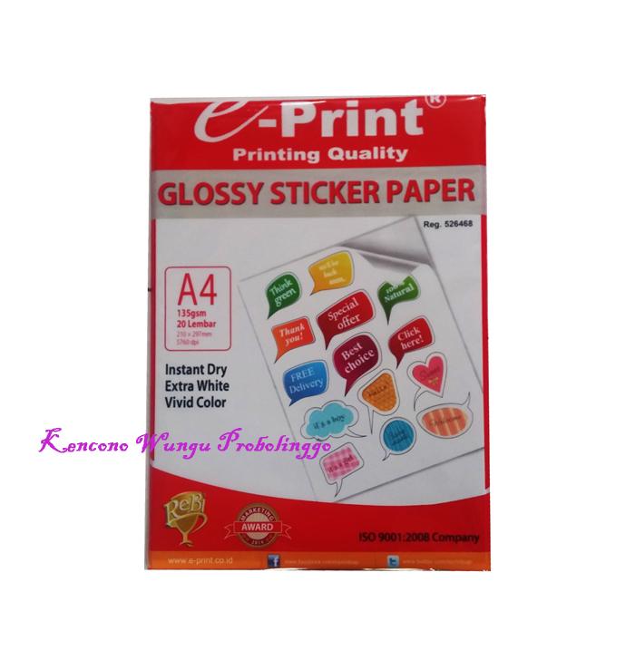 Jual kertas sticker glossy eprint a4 135gsm isi 20lembar ud kencono wungu tokopedia