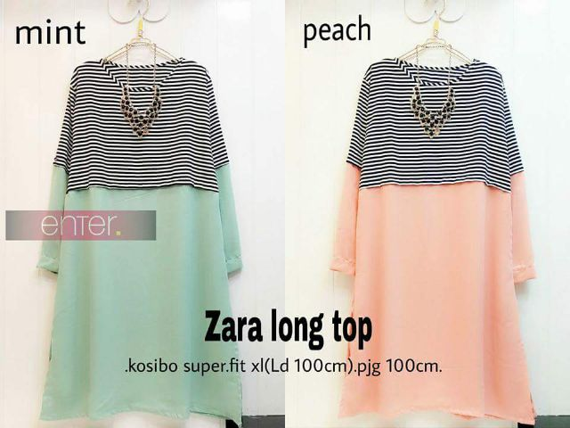 Zara Long Top/Baju Muslim Wanita/Atasan/Dress/Hijab Murah
