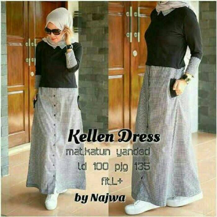 Kellen Dress / gamis hitam / dress hitam / hijab model baru murah