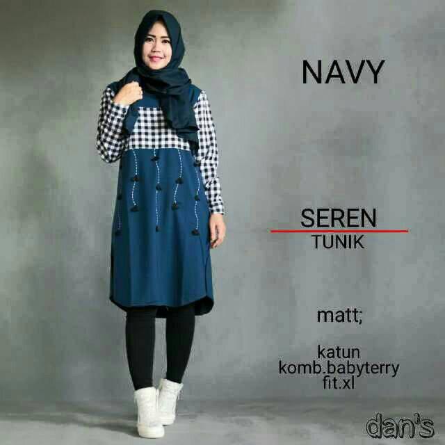 Seren Navy / tunik lucu / baju unik / baju muslim / hijab gaya baru
