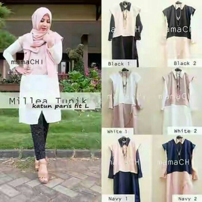 Milea Tunik / baju pink / baju hitam / pakaian muslim / hijab murah