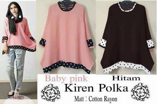 Kiren Polka / baju atasan gaul / grosir baju hijab