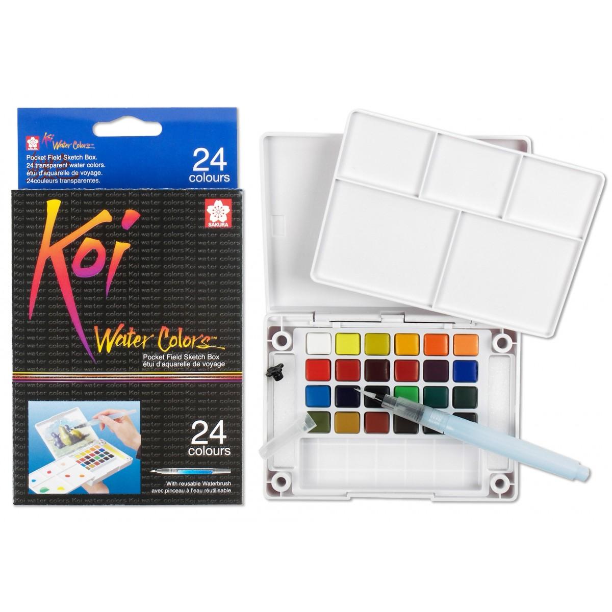 Cat Air 24 Colours Set - SAKURA Koi Water Colors Pocket Sketch Box
