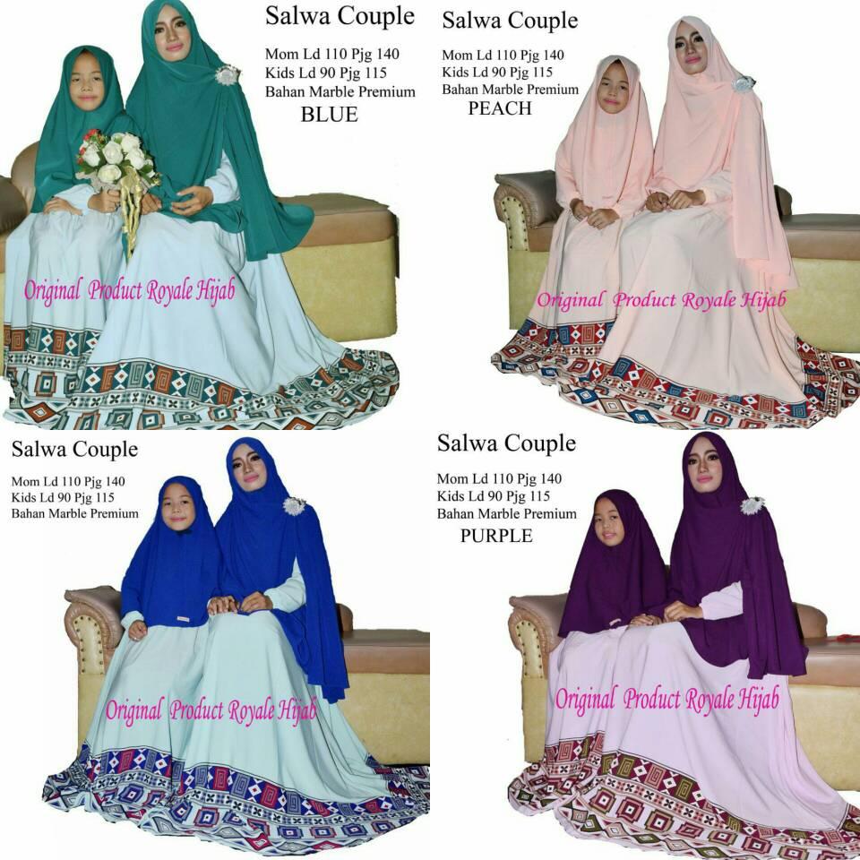 hijab gamis salwa syari couple ibu anak 10-12tahun xl busui cantik