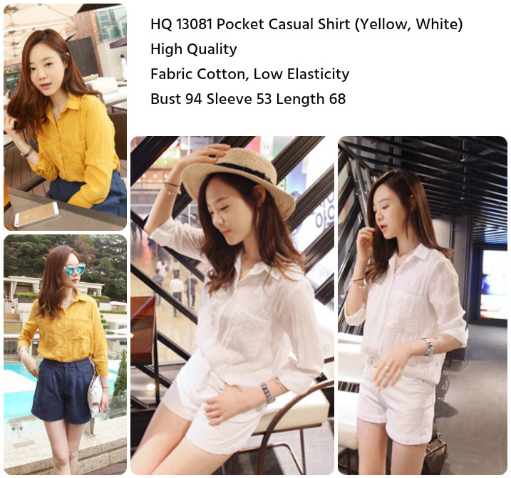 Pocket Casual Shirt (WHITE/YELLOW)-13081