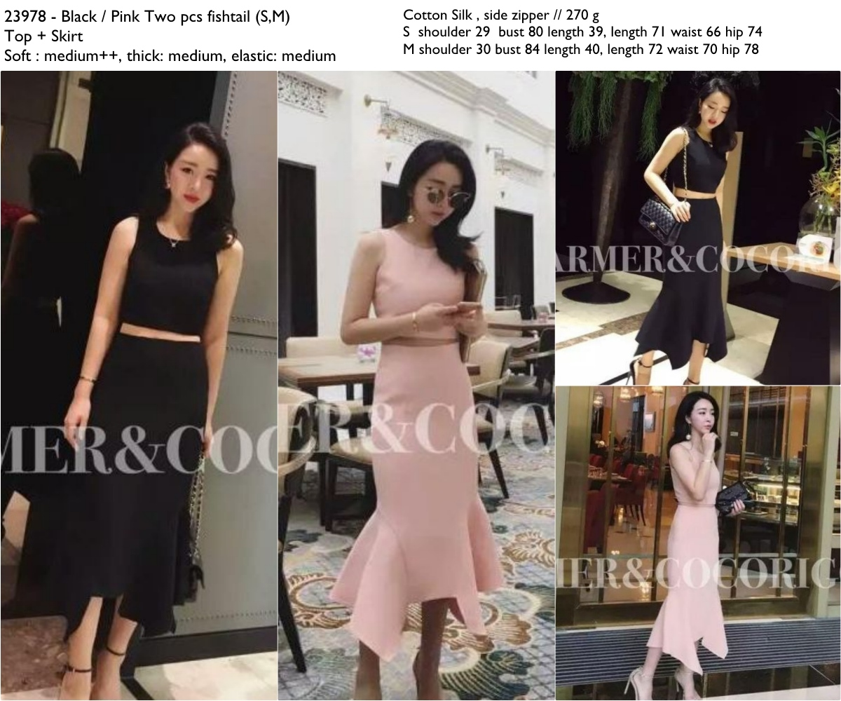 Pink,Black Two pcs fishtail (S,M) Top + Skirt -23978