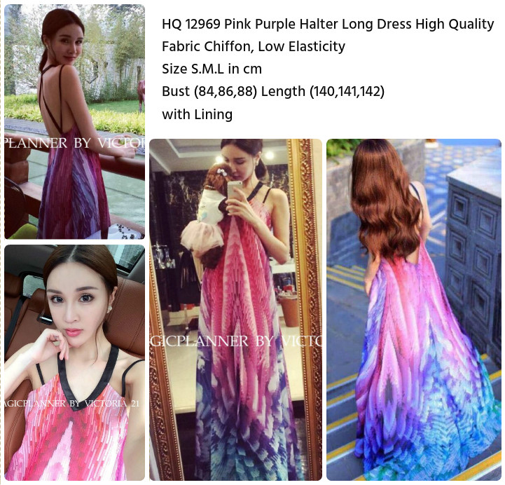 Pink Purple Halter Long Dress (size S,M,L)-12969