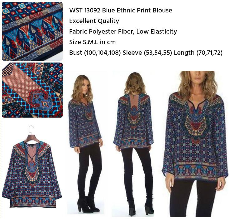 Blue Ethnic Print Blouse (size S,M,L)-13092