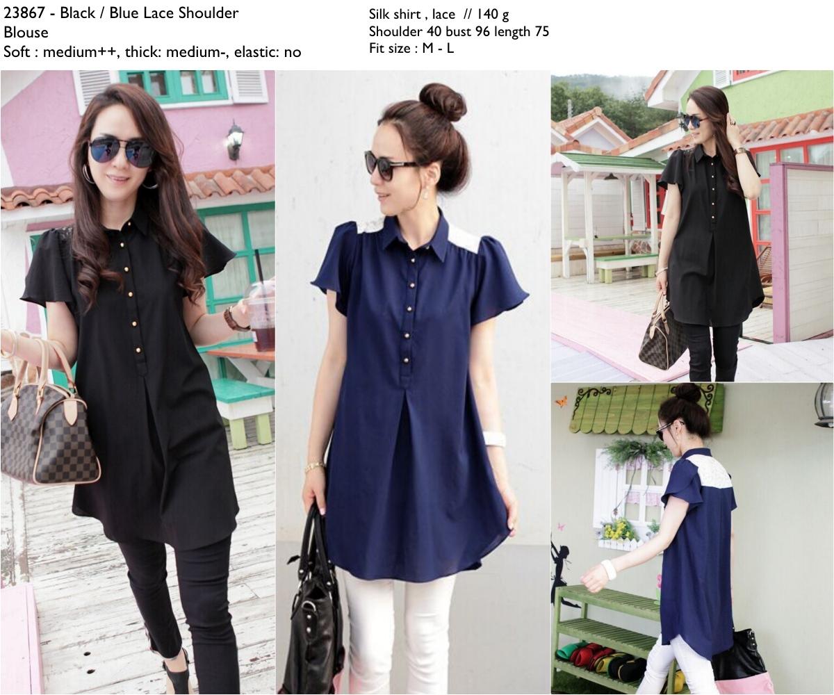 Blue,Black Lace Shoulder Blouse -23867