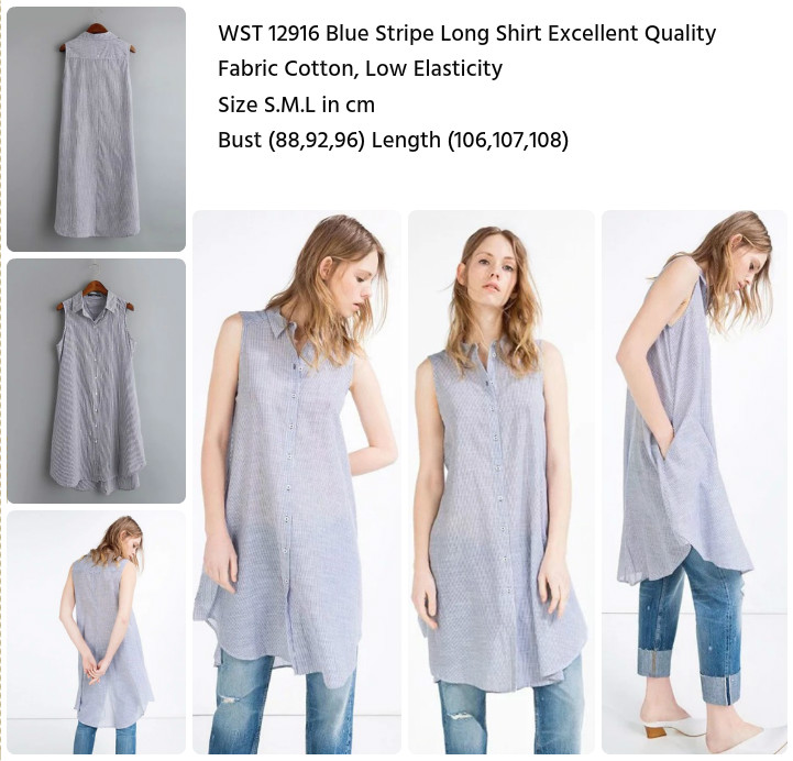 Blue Stripe Long Shirt (size S,M,L)-12916