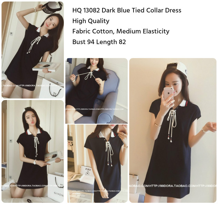 Dark Blue Tied Collar Dress-13082