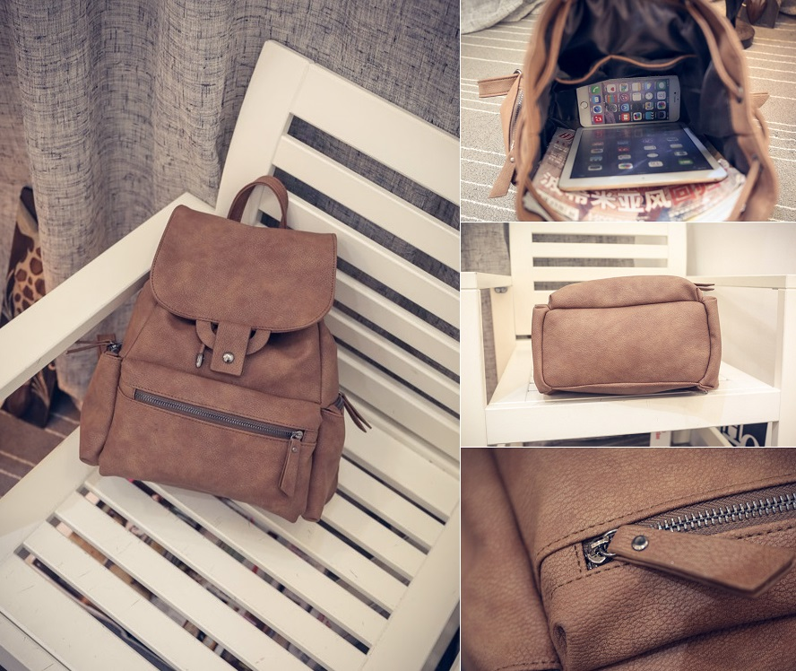 Retro backpack (Black,Brown) - 0421