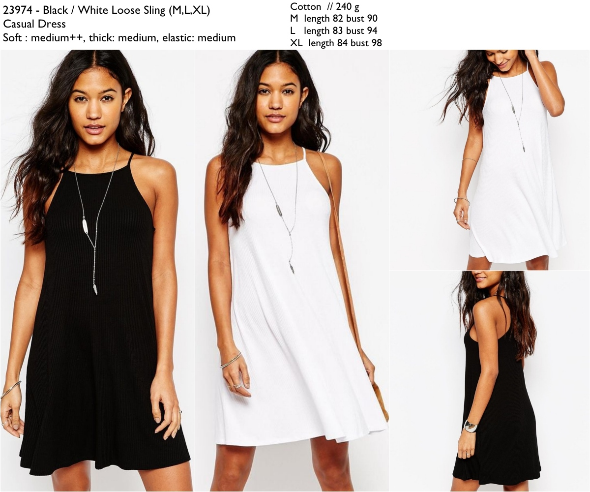 White,Black Loose Sling (M,L,XL) Casual Dress -23974