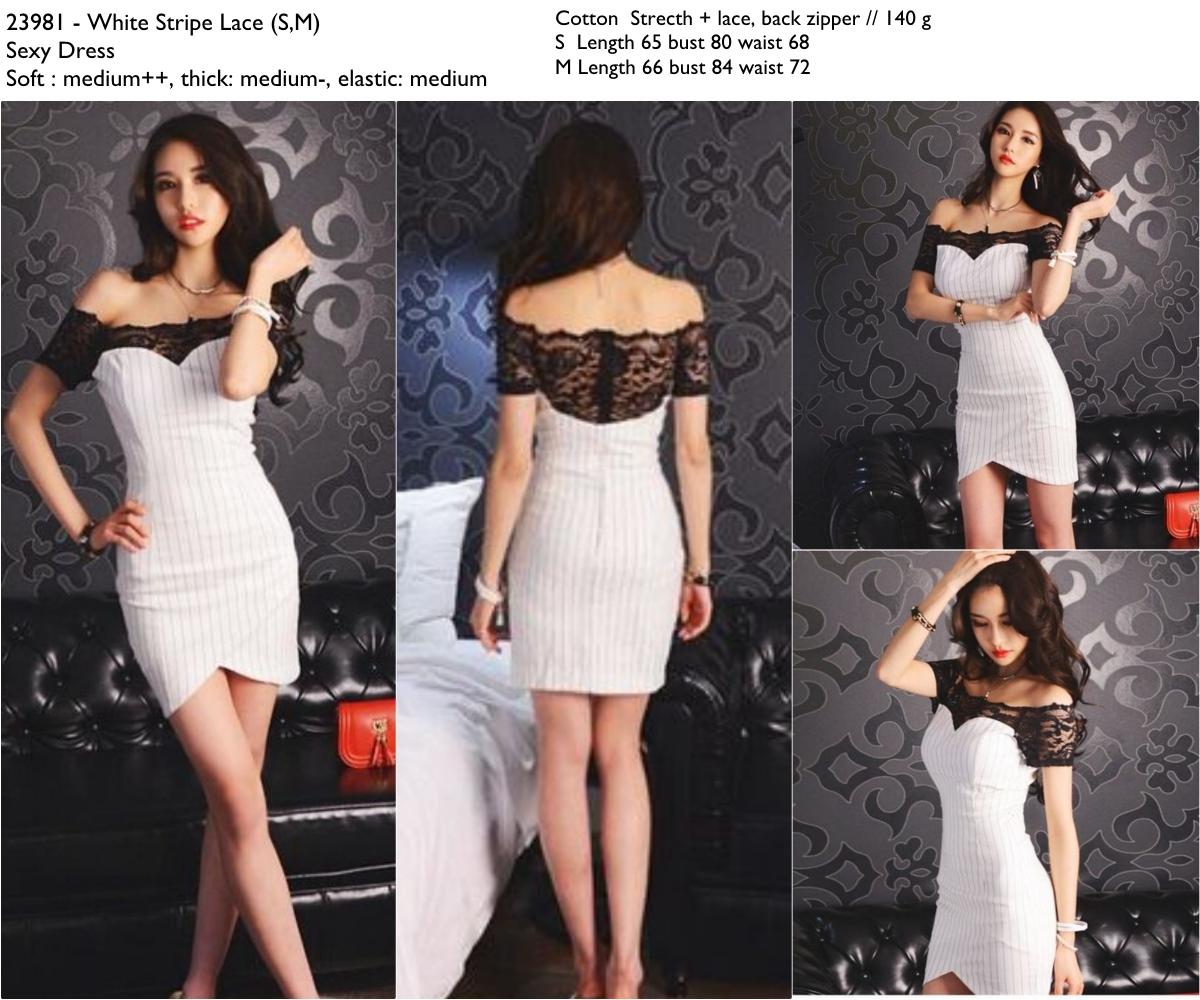 White Stripe Lace (S,M) Sexy Dress -23981
