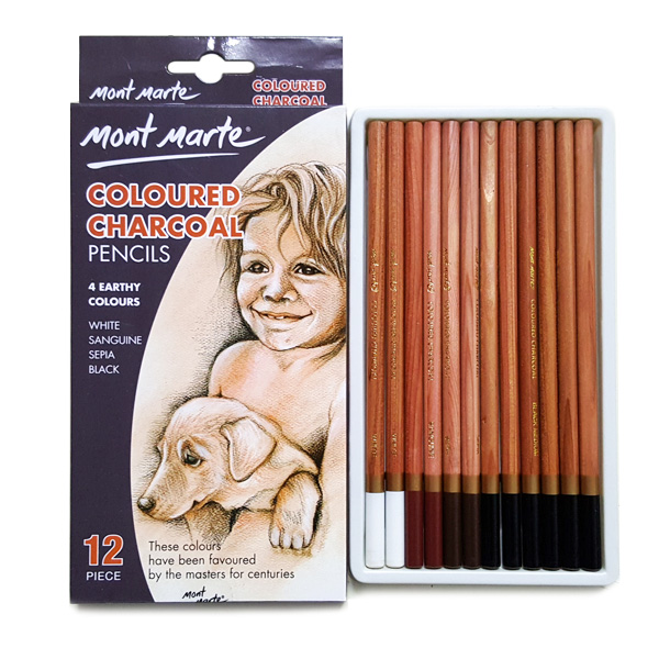 mont marte coloured charcoal pencils set 17
