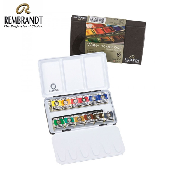 rembrandt watercolour metal basic set 12 half pans 3