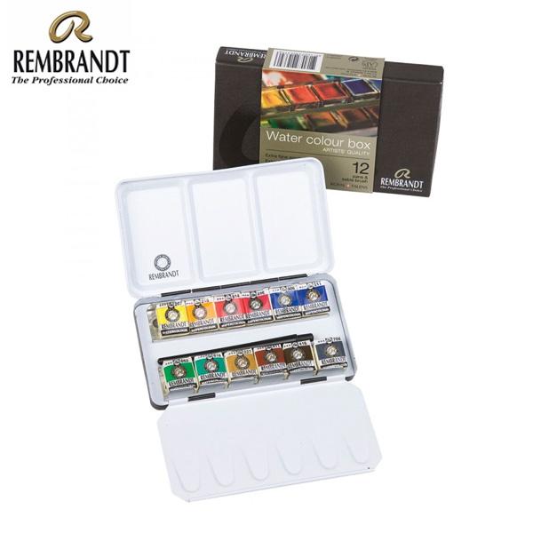 rembrandt watercolour metal basic set 12 half pans 6