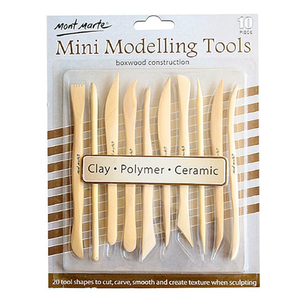 mont marte mini modelling tools boxwood set 16