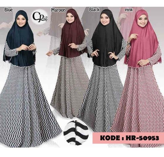 Setelan Hijab Syari Ramsha/ Gamis Set Bergo / Busana Muslim Baju Busui