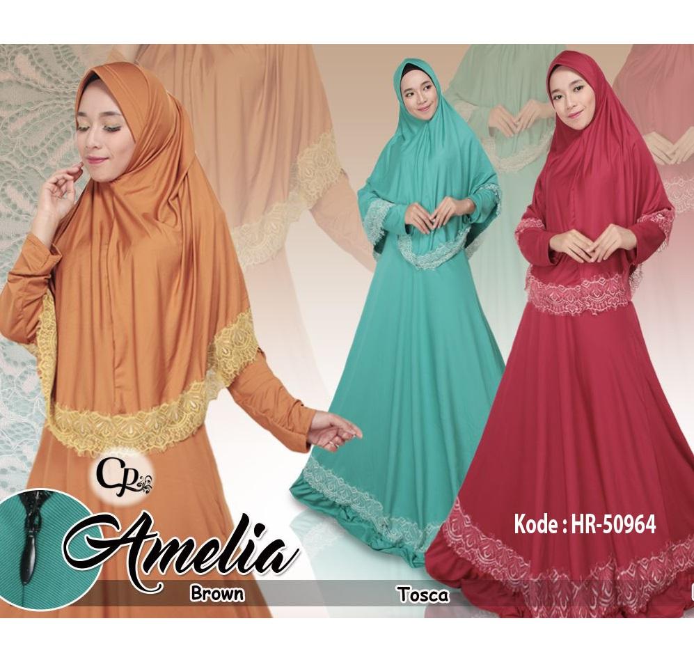 Gamis Set Hijab Renda / Setelan Hijab Syari / Busana Muslim Baju Busui