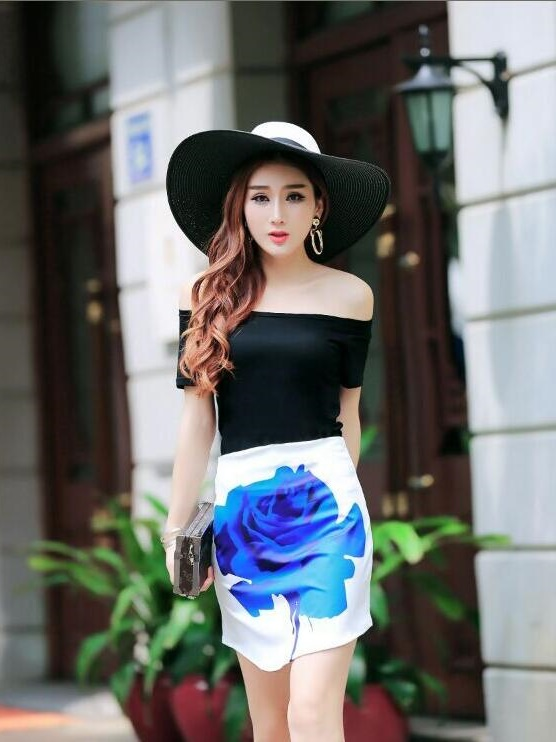crop top with skirt flower S,M - 780031