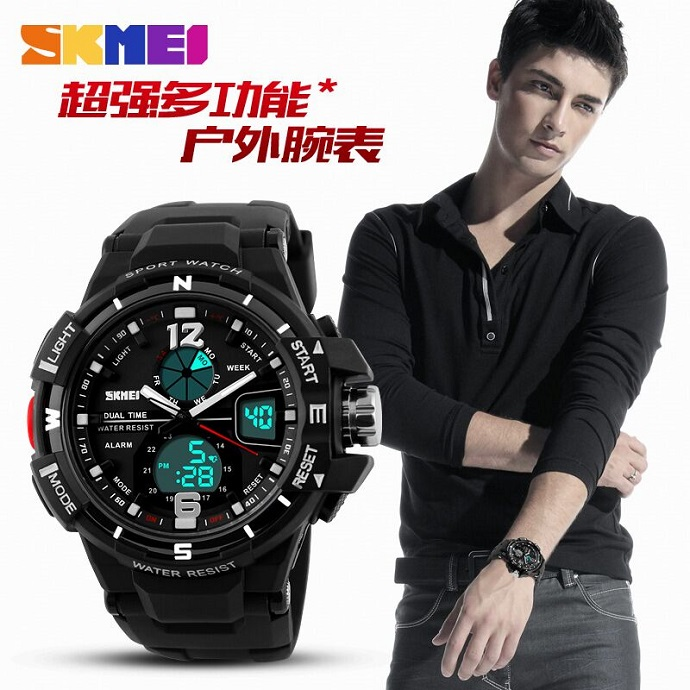 ORIGINAL SKMEI Casio Men Sport LED Anti / Tahan Air Outdoor Jam Pria