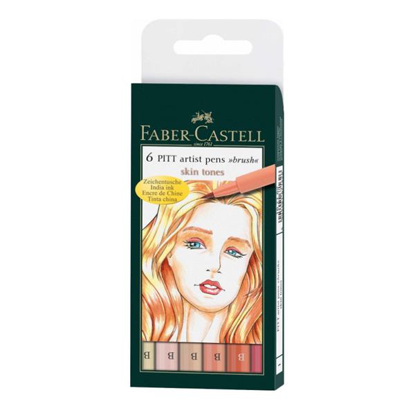 faber castell pitt artist pen brush set 6 skin tones 10