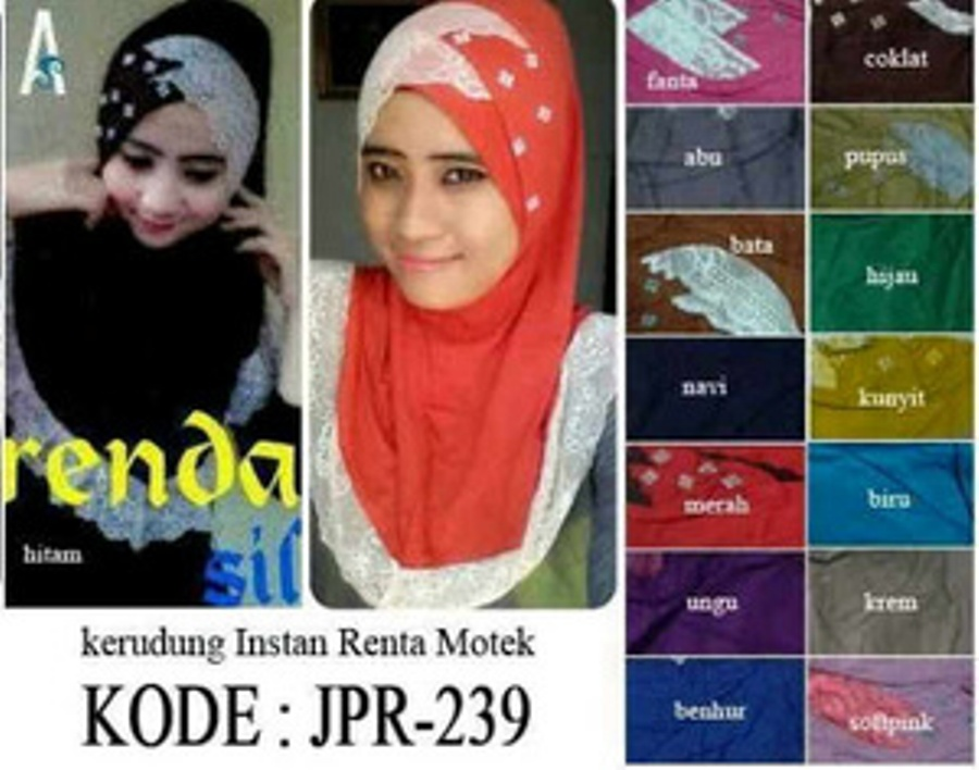 Hijab Instant Silang Renda Motek..........