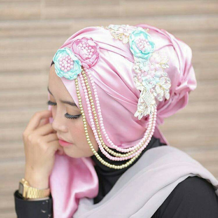 Bros hijab cantik murah aksesoris headpiece hijab wedding