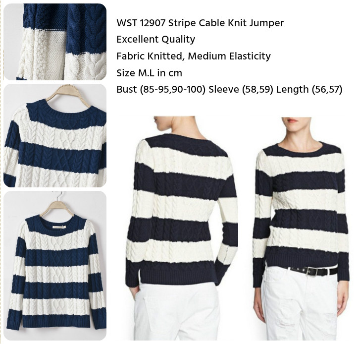 Stripe Cable Knit Jumper (size M,L)-12907