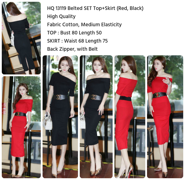 Belted SET Top+Skirt (BLACK,RED)-13119