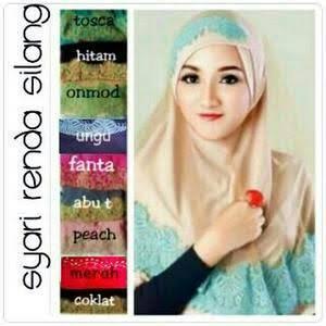 jilbab / jilbab instan / kerudung / hijab syiria renda silang