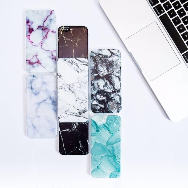 Чехол силиконовый с индивидуальным дизайном «Фиолетовый мрамор» для iPhone